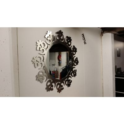 Stainless Steel Large Om Mirror